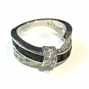 Jewelry - Black Saphire white gold filled ring size 6